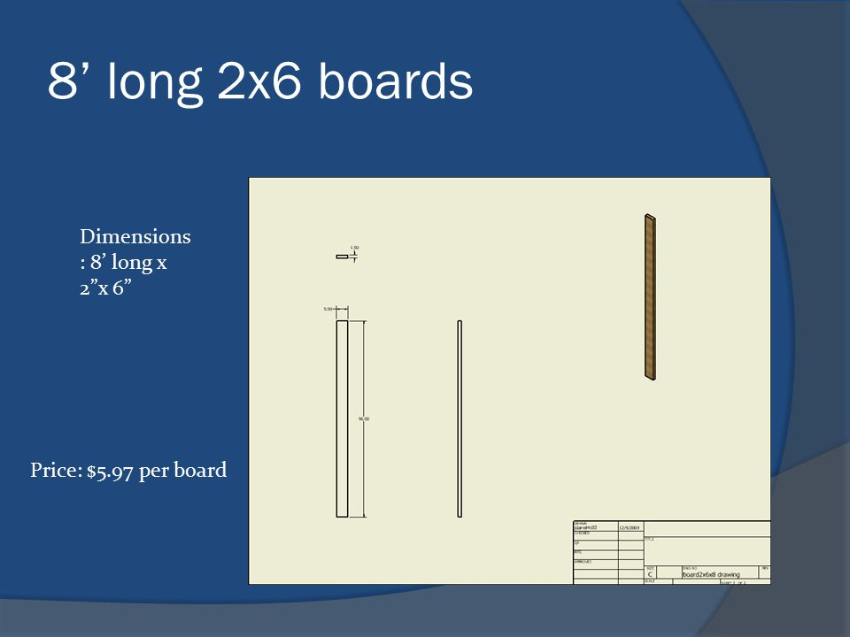 8' long 2x6 boards Dimensions : 8' long x 2 x 6 Price: $5.97 per board
