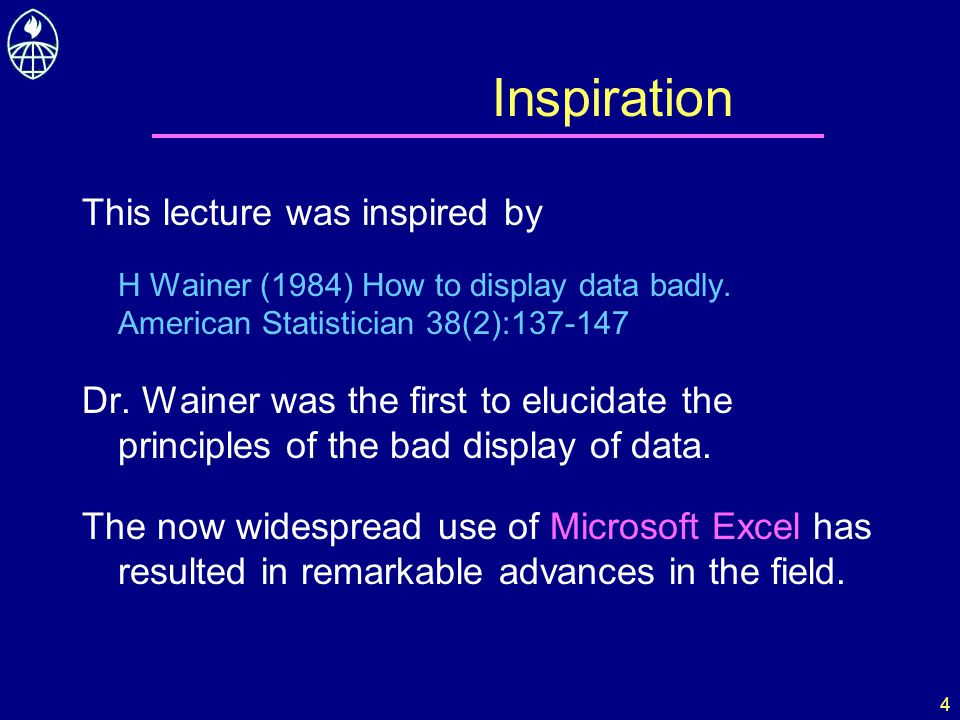 4 Inspiration This lecture was inspired by H Wainer (1984) How to display data badly. American Statistician 38(2):137-147 Dr. Wainer was the first to