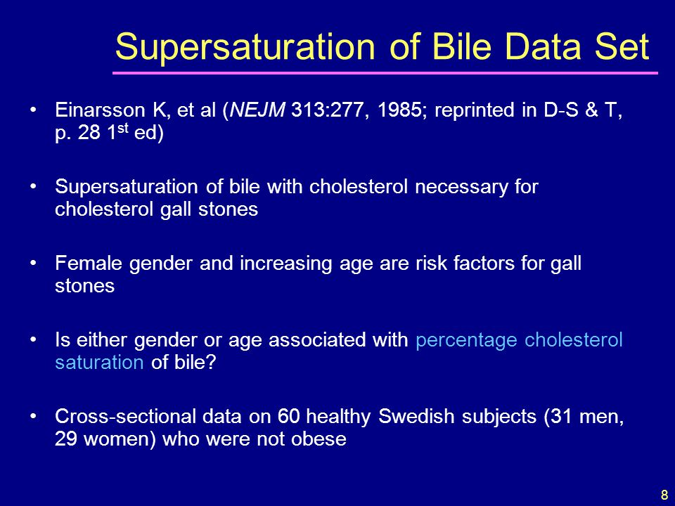 8 Einarsson K, et al (NEJM 313:277, 1985; reprinted in D-S & T, p. 28 1 st ed) Supersaturation of bile with cholesterol necessary for cholesterol gall