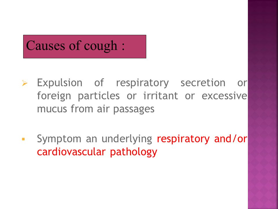 Expulsion of respiratory secretion or foreign particles or irritant or excessive mucus from air passages  Symptom an underlying respiratory and/or