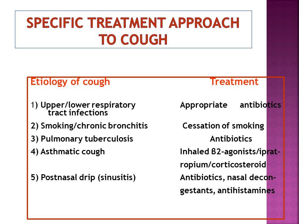 Etiology of coughTreatment 1) Upper/lower respiratoryAppropriateantibiotics tract infections 2) Smoking/chronic bronchitis Cessation of smoking 3) Pul