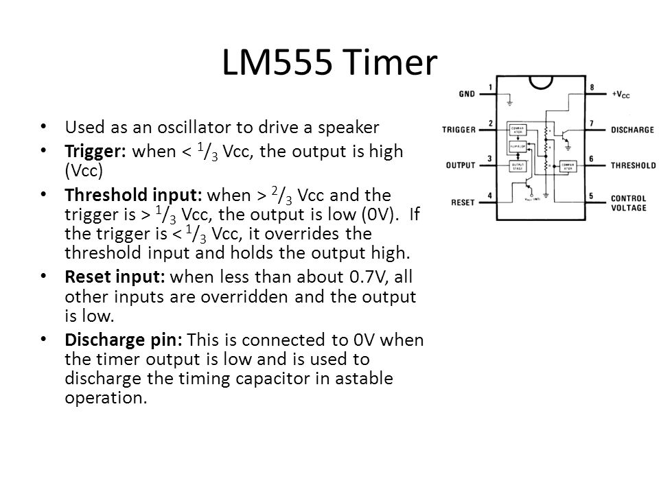 LM555 Timer as an oscillator Astable operation: The circuit oscillates on its own.
