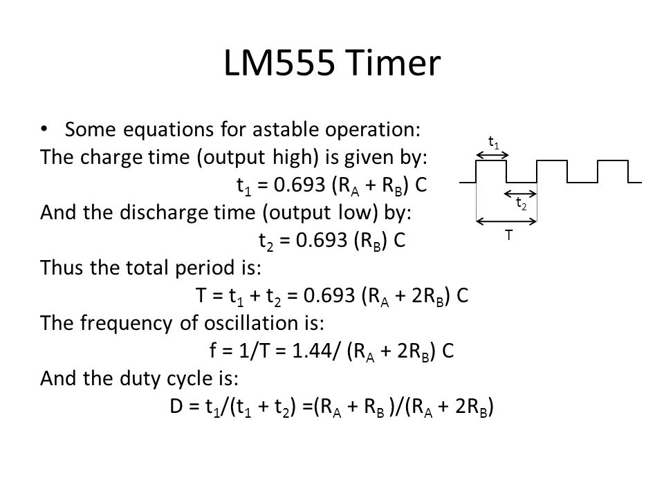 LM555 Testing: – Pick a large-ish capacitor (say 10µF), and a few different resistors (1kΩ, 10kΩ, 51kΩ, 100kΩ, etc…) or a couple of 10 or 100kΩ potentiometers (variable resistors) – Build the circuit to the right without the speaker – Probe the output with the oscilloscope (Do you see a square wave?) – Try different resistors What happens to the frequency.