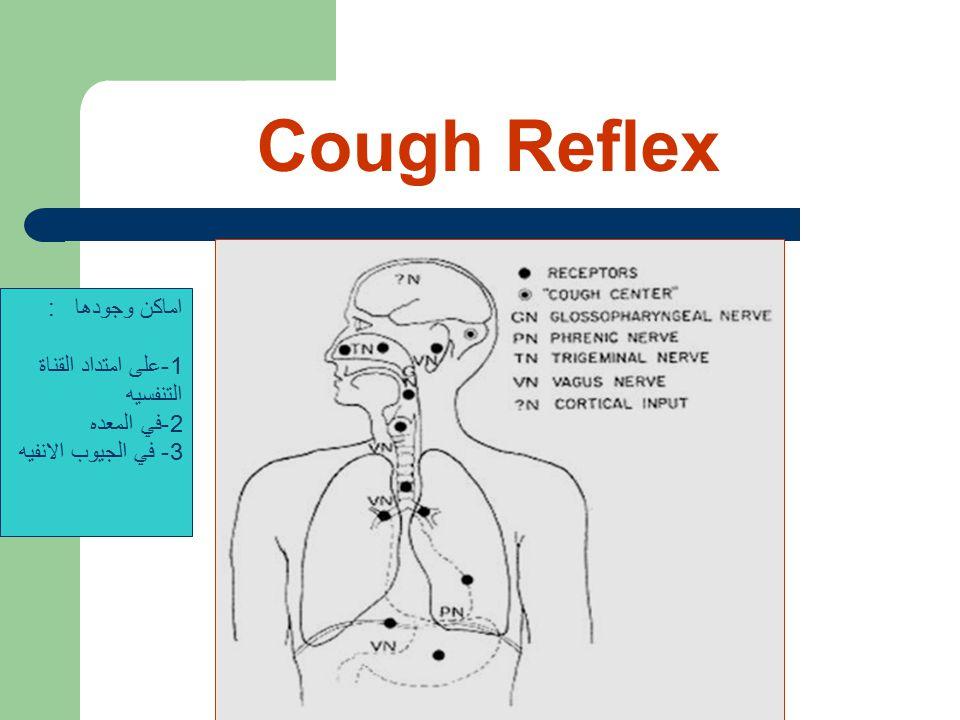 Cough Reflex اماكن وجودها : 1-على امتداد القناة التنفسيه 2-في المعده 3- في الجيوب الانفيه
