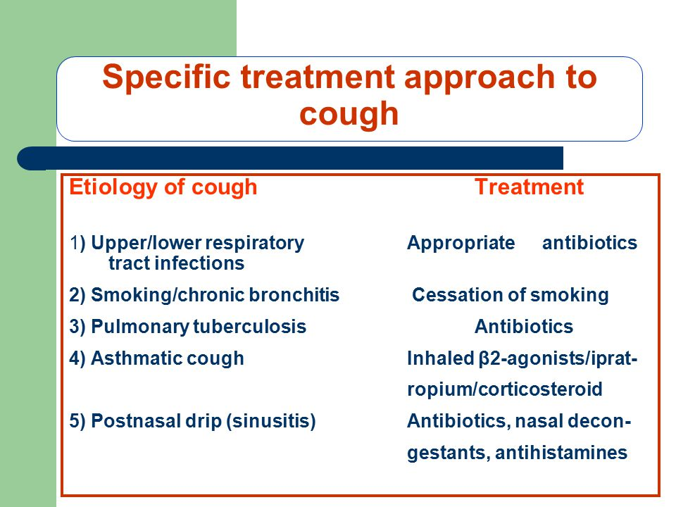 Specific treatment approach to cough Etiology of coughTreatment 1) Upper/lower respiratoryAppropriateantibiotics tract infections 2) Smoking/chronic bronchitis Cessation of smoking 3) Pulmonary tuberculosisAntibiotics 4) Asthmatic coughInhaled β2-agonists/iprat- ropium/corticosteroid 5) Postnasal drip (sinusitis)Antibiotics, nasal decon- gestants, antihistamines