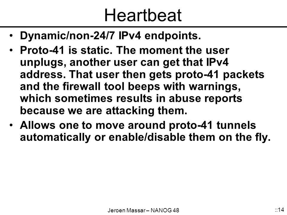 Jeroen Massar – NANOG 48 ::14 Heartbeat Dynamic/non-24/7 IPv4 endpoints.