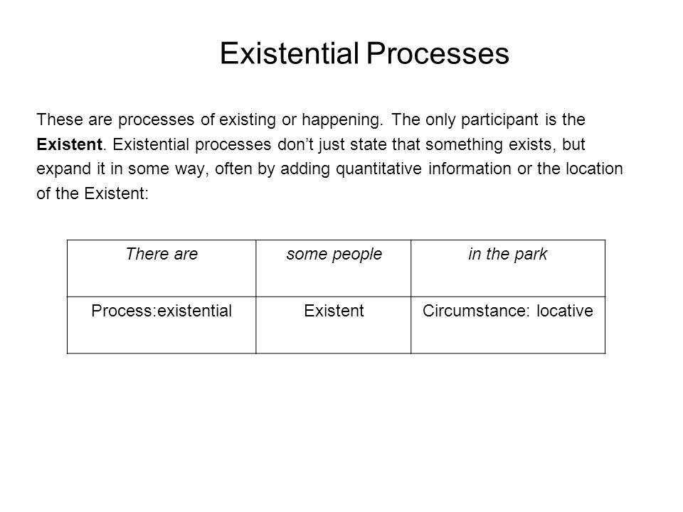 Existential Processes These are processes of existing or happening.