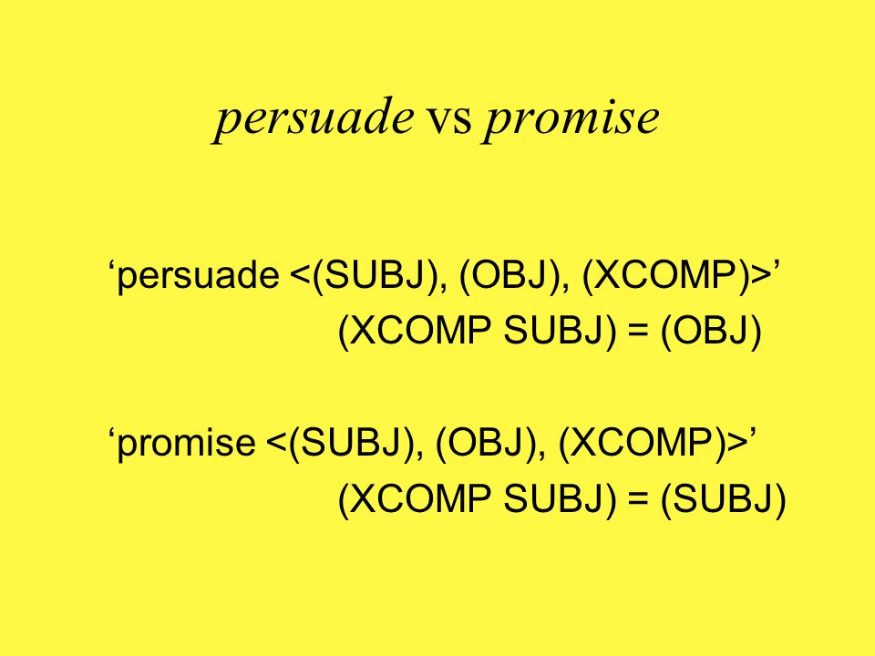 try'try ' (XCOMP SUBJ) = (SUBJ) 'exhaustive': same info referred to in two places in f- structure, so split antecedence impossible 'local': verb can only subcategorise for a clause contained in its own immediate constituent 'obligatory': control pattern can only be introduced via lexical entry of controlling verb 'c-command' (or f-command): controlling verb one clause up and thus subject/object/indirect object necessarily c-commands controllee