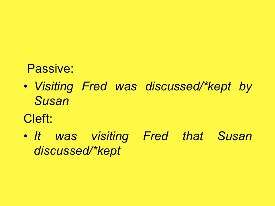 Keep + –ing i)Susan discussed visiting Fred (anaphoric) ii)Susan kept visiting Fred(functional)