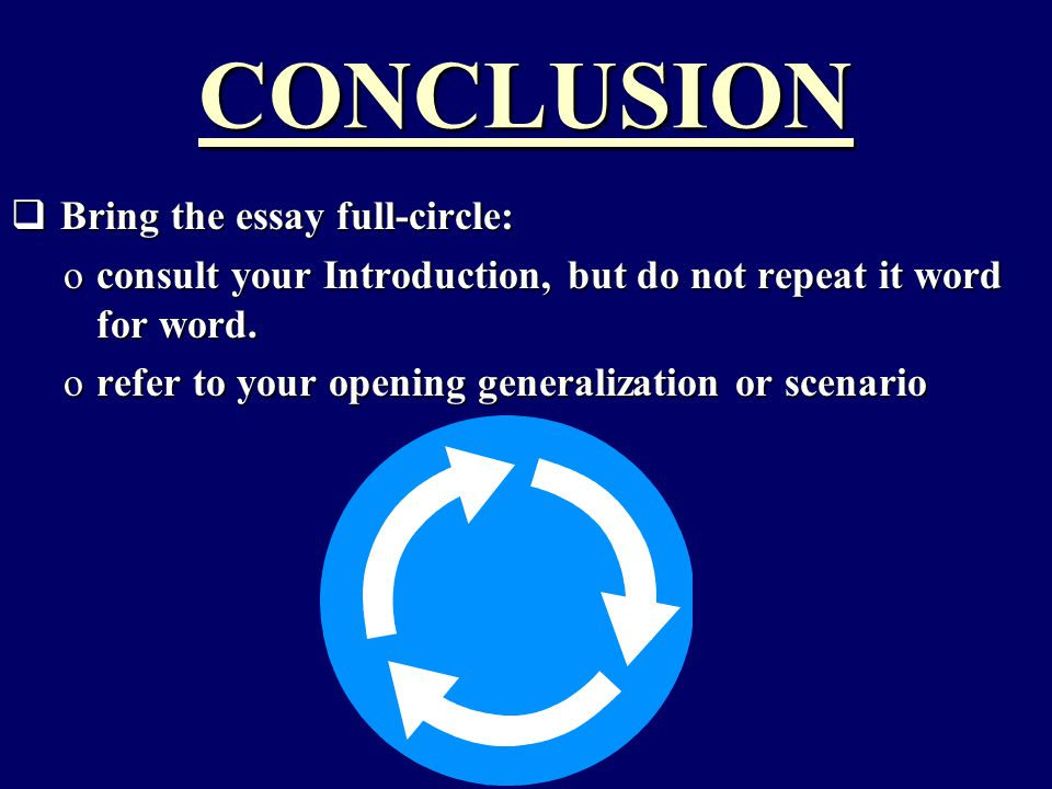CONCLUSION  Bring the essay full-circle: oconsult your Introduction, but do not repeat it word for word.