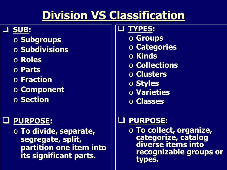 SUB: oSubgroups oSubdivisions oRoles oParts oFraction oComponent oSection  PURPOSE: oTo divide, separate, segregate, split, partition one item into its significant parts.