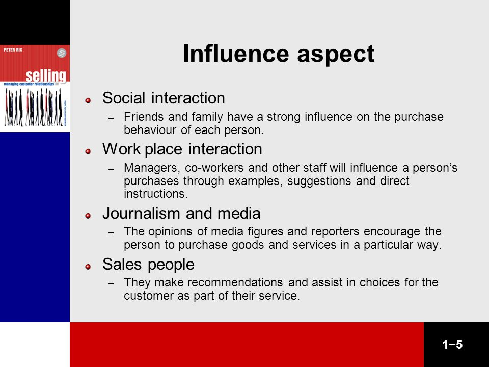 1−5 Influence aspect Social interaction – Friends and family have a strong influence on the purchase behaviour of each person.