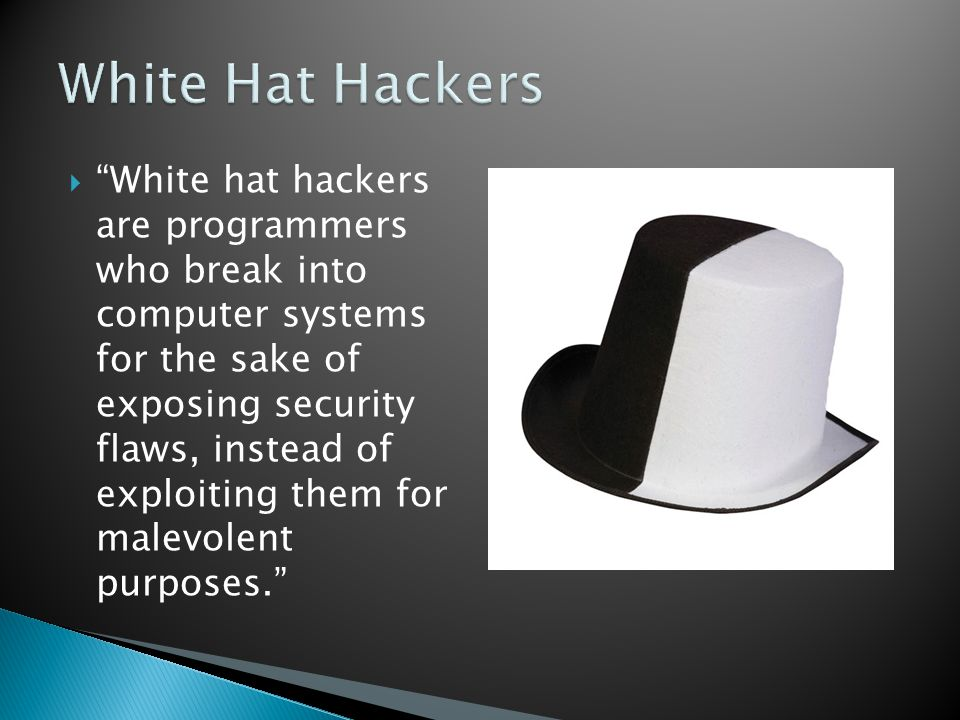 """ """"White hat hackers are programmers who break into computer systems for the sake of exposing security flaws, instead of exploiting them for malevolen"""