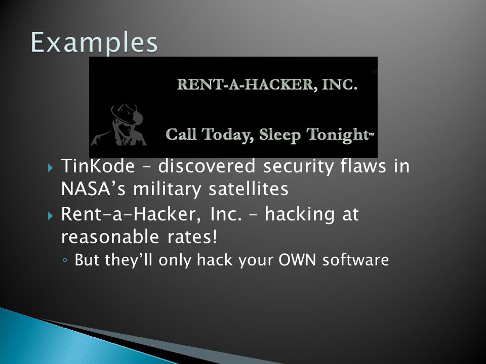  TinKode – discovered security flaws in NASA's military satellites  Rent-a-Hacker, Inc. – hacking at reasonable rates! ◦ But they'll only hack your