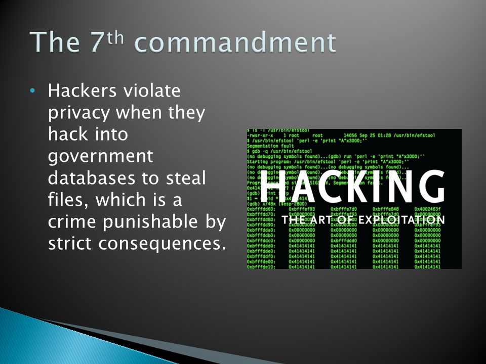 Hackers violate privacy when they hack into government databases to steal files, which is a crime punishable by strict consequences.