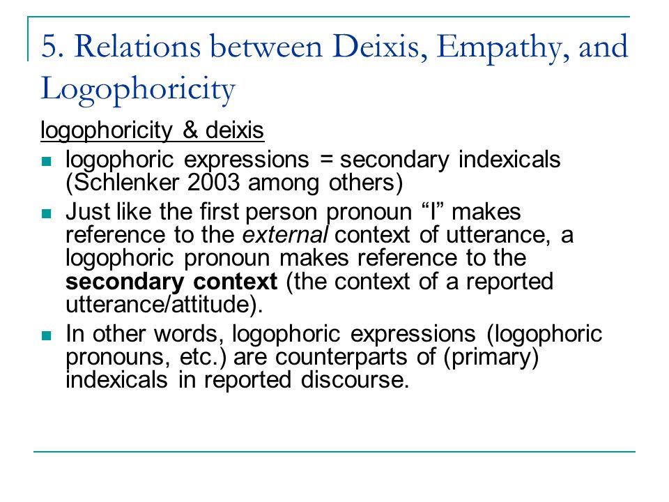 5. Relations between Deixis, Empathy, and Logophoricity logophoricity & deixis logophoric expressions = secondary indexicals (Schlenker 2003 among oth