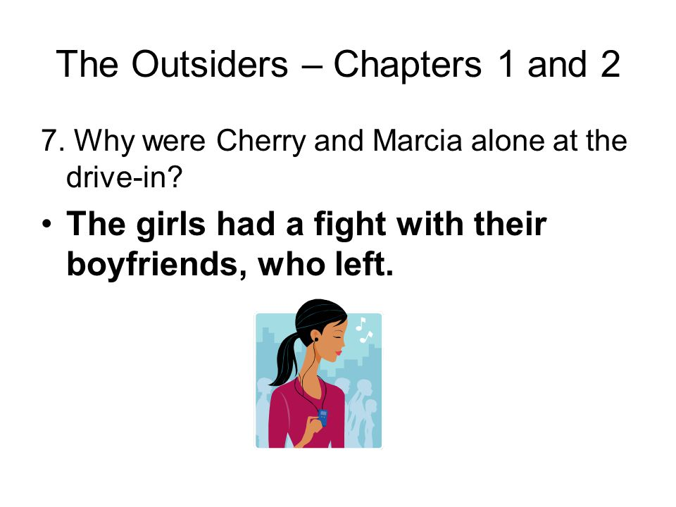 The Outsiders – Chapters 1 and 2 6. Contrast Dally's approach to Cherry and Marcia with Pony's, and contrast Cherry's response to Dally with her respo