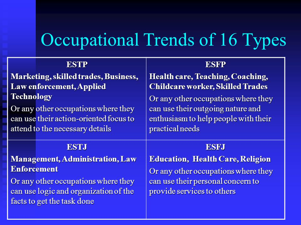Occupational Trends of 16 Types ESTP Marketing, skilled trades, Business, Law enforcement, Applied Technology Or any other occupations where they can