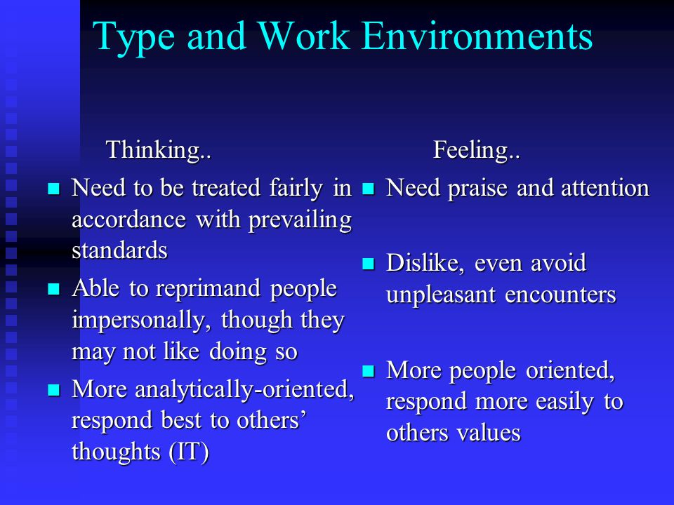 Type and Work Environments Thinking.. Thinking.. Need to be treated fairly in accordance with prevailing standards Need to be treated fairly in accord