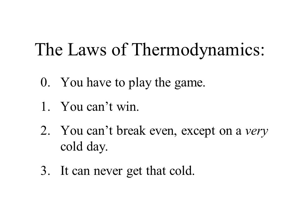 The Laws of Thermodynamics: 0.You have to play the game.