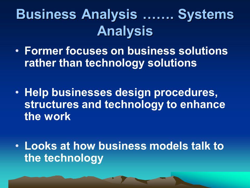 Business Analysis …….
