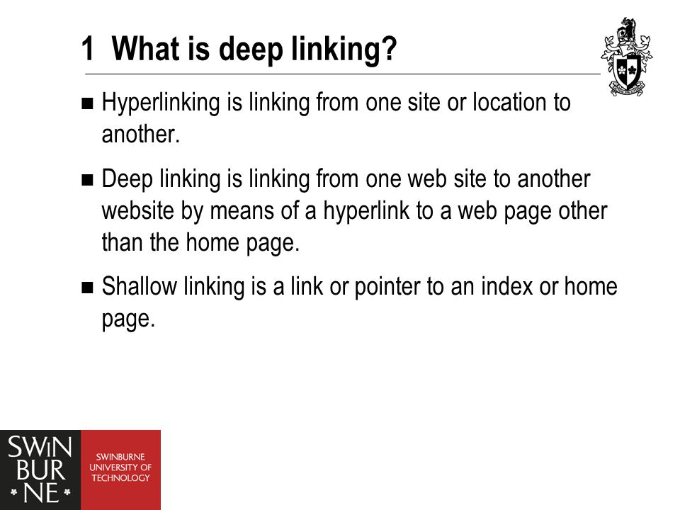 1 What is deep linking. Hyperlinking is linking from one site or location to another.