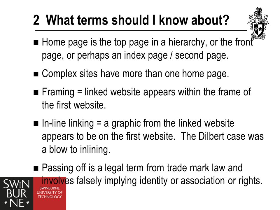 2 What terms should I know about? Home page is the top page in a hierarchy, or the front page, or perhaps an index page / second page. Complex sites h