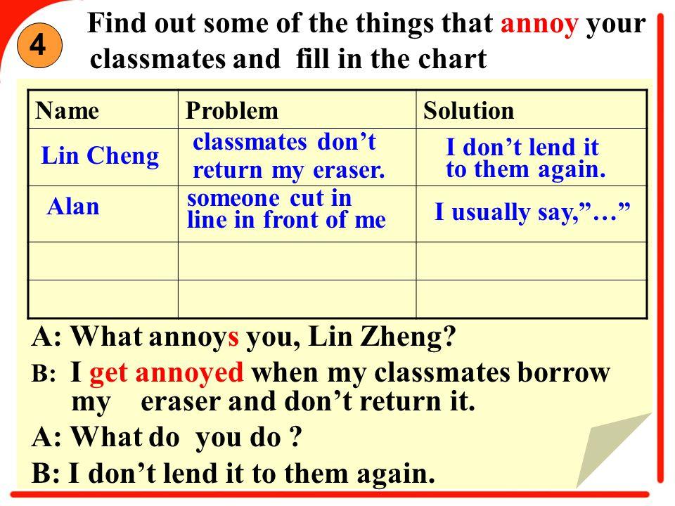 A: What annoys you, Lin Zheng.