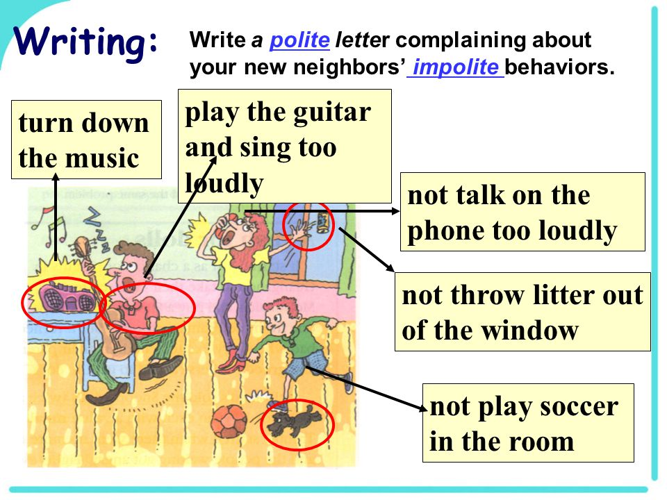 turn down the music not play soccer in the room not talk on the phone too loudly not throw litter out of the window Writing: Write a polite letter complaining about your new neighbors' impolite behaviors.