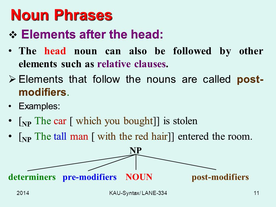 Noun Phrases 2014KAU-Syntax/ LANE-33411