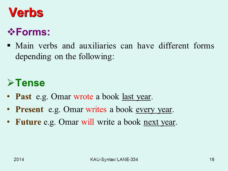 Verbs 2014KAU-Syntax/ LANE-33416