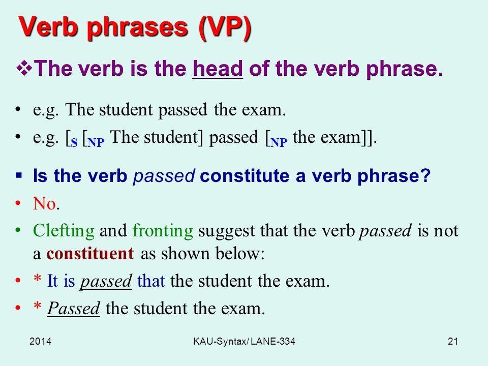 Verb phrases (VP) 2014KAU-Syntax/ LANE-33421