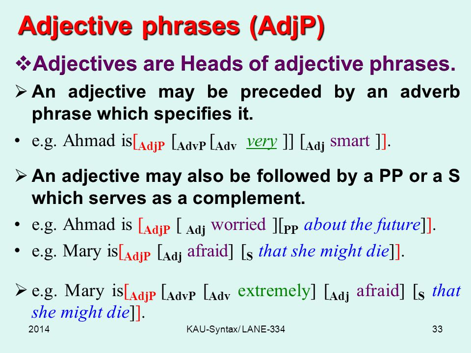 Adjective phrases (AdjP) 2014KAU-Syntax/ LANE-33433