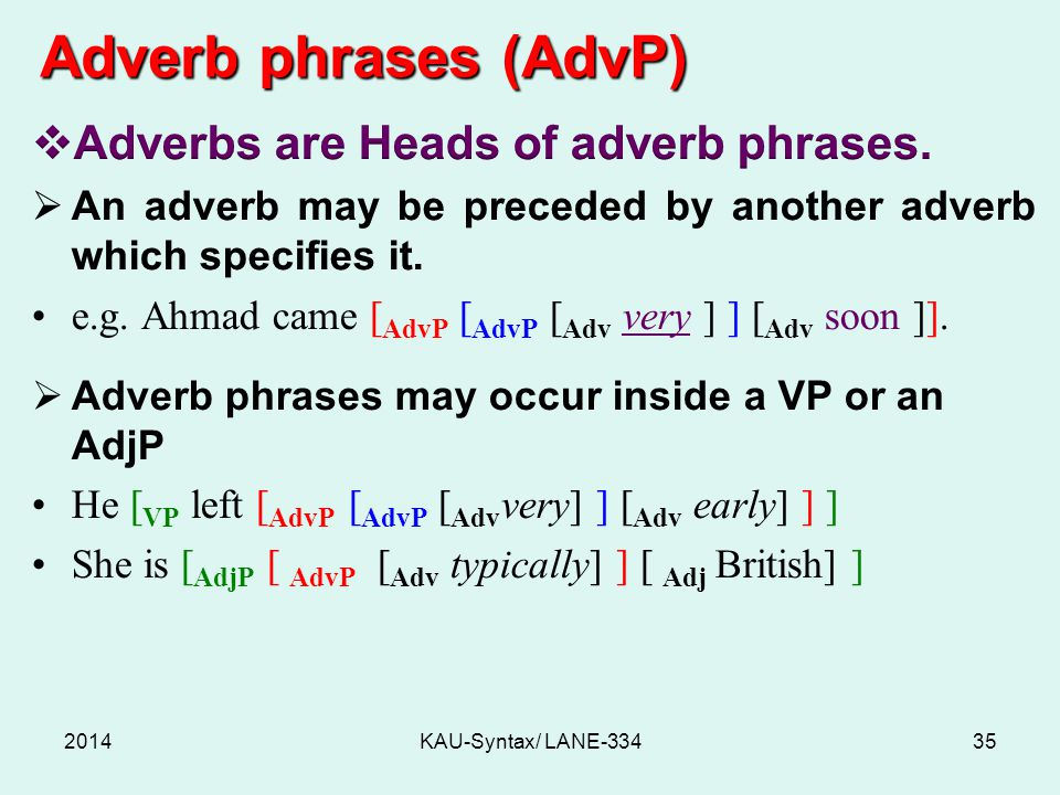 Adverb phrases (AdvP) 2014KAU-Syntax/ LANE-33435