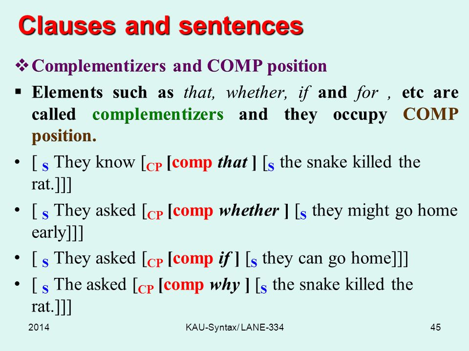 Clauses and sentences 2014KAU-Syntax/ LANE-33445