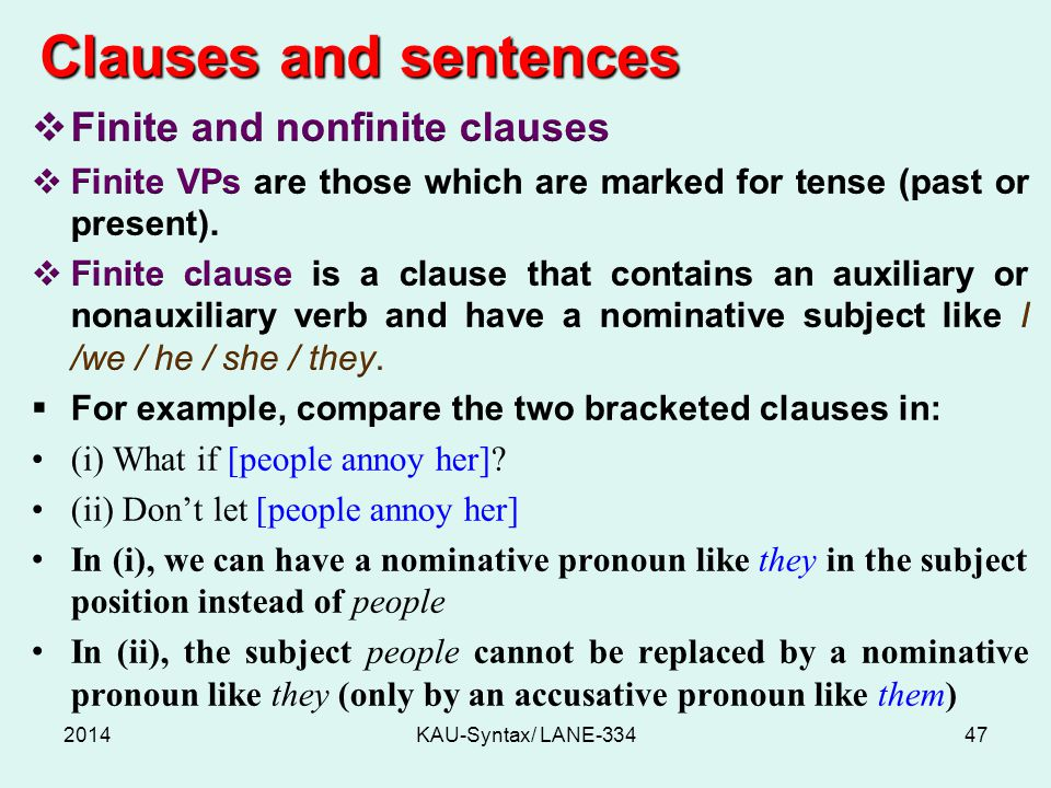 Clauses and sentences 2014KAU-Syntax/ LANE-33447