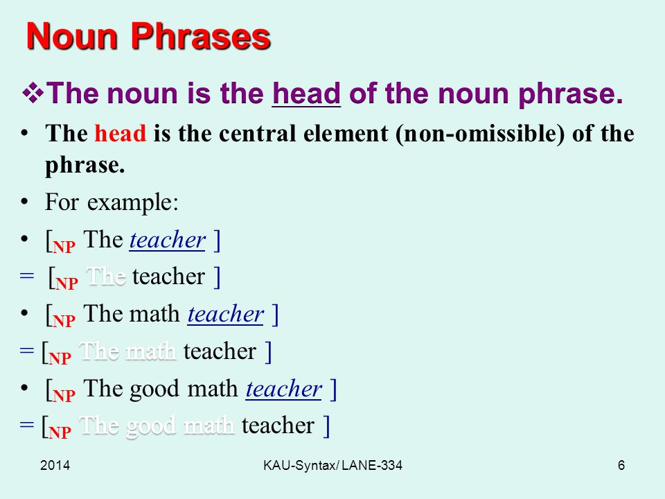 Noun Phrases 2014KAU-Syntax/ LANE-3346