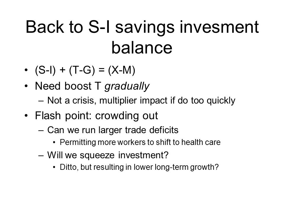 Back to S-I savings invesment balance (S-I) + (T-G) = (X-M) Need boost T gradually –Not a crisis, multiplier impact if do too quickly Flash point: crowding out –Can we run larger trade deficits Permitting more workers to shift to health care –Will we squeeze investment.