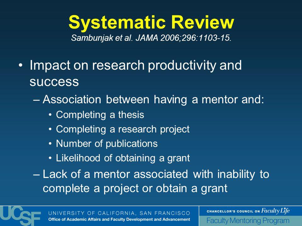 Systematic Review Sambunjak et al. JAMA 2006;296:1103-15.