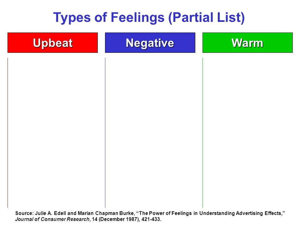 Types of Feelings (Partial List) NegativeWarmUpbeat Source: Julie A.