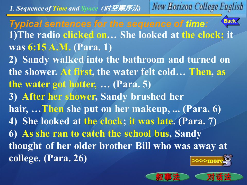 "The device ""narration"" is employed in describing how Sandy got up (Para. 1), took her bath (Para. 5), dressed herself (Para. 6), ate her breakfast (Pa"