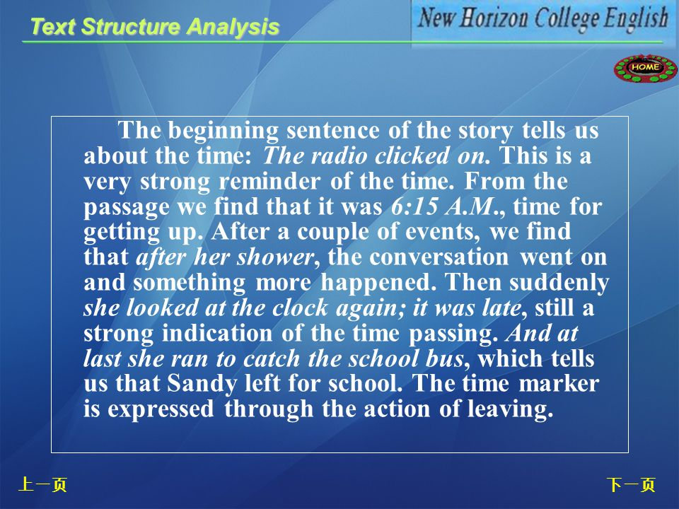 The author presents what Sandy did on a weekday morning through a time order, describing a series of actions according to a sequenced order. To descri