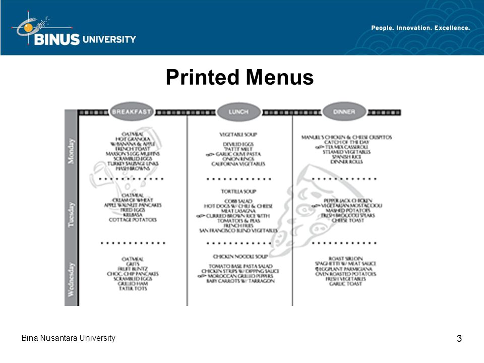 Bina Nusantara University 3 Printed Menus