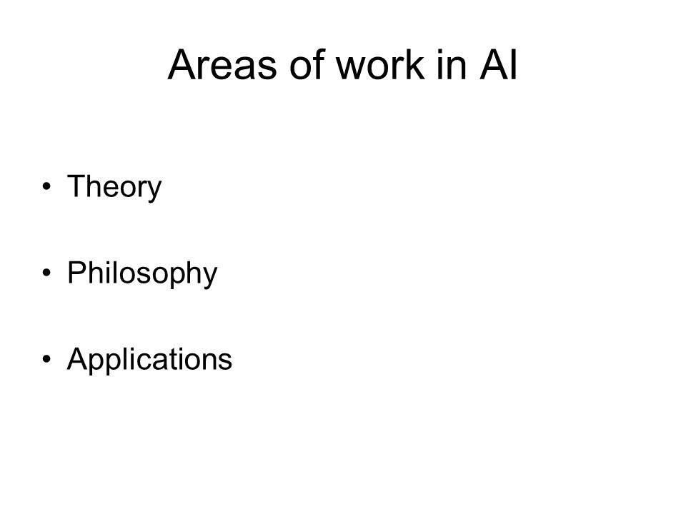Areas of work in AI Theory Philosophy Applications