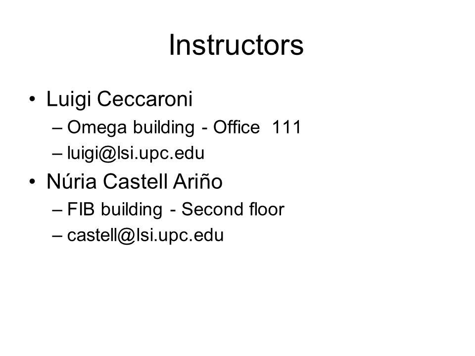 Instructors Luigi Ceccaroni –Omega building - Office 111 –luigi@lsi.upc.edu Núria Castell Ariño –FIB building - Second floor –castell@lsi.upc.edu