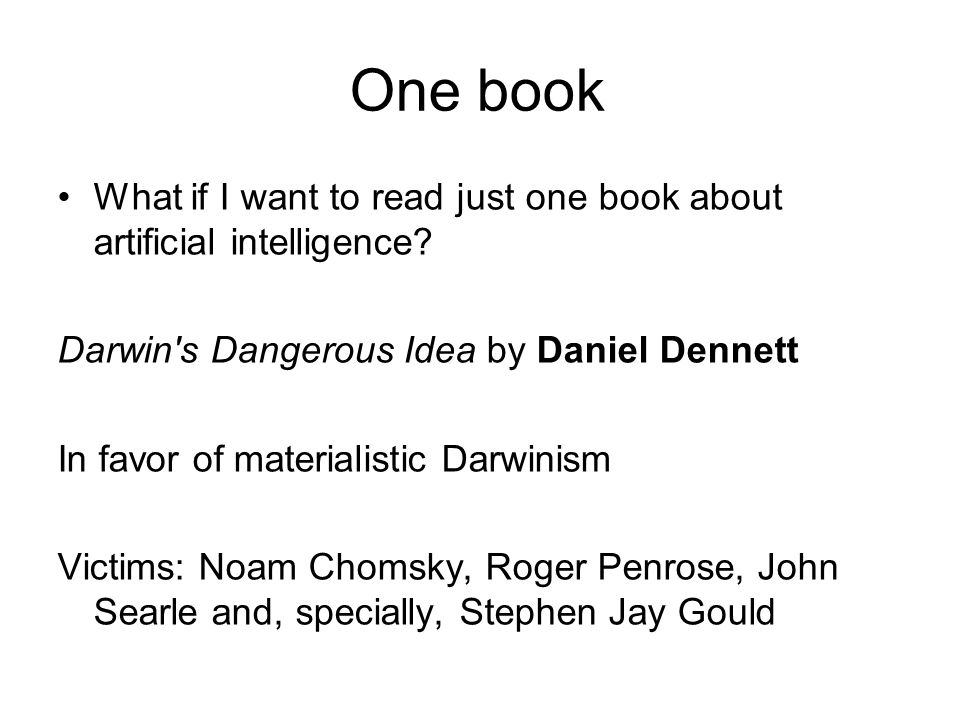 One book What if I want to read just one book about artificial intelligence.
