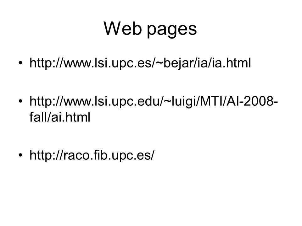 Web pages http://www.lsi.upc.es/~bejar/ia/ia.html http://www.lsi.upc.edu/~luigi/MTI/AI-2008- fall/ai.html http://raco.fib.upc.es/