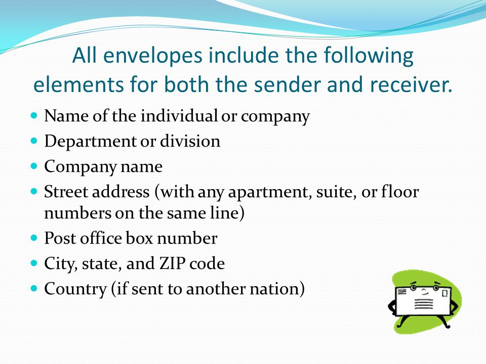 All envelopes include the following elements for both the sender and receiver.