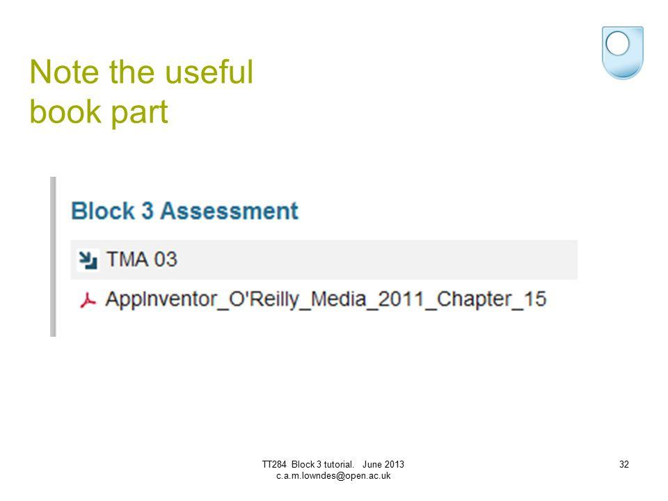 Note the useful book part 32TT284 Block 3 tutorial. June 2013 c.a.m.lowndes@open.ac.uk