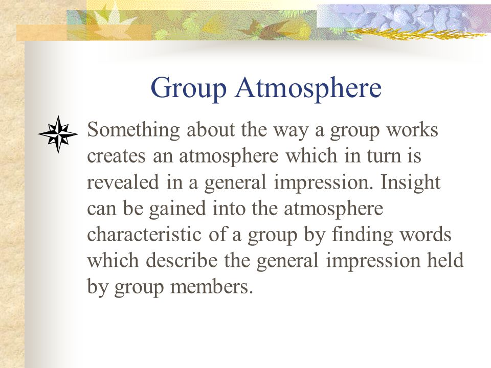 Group Atmosphere Something about the way a group works creates an atmosphere which in turn is revealed in a general impression. Insight can be gained